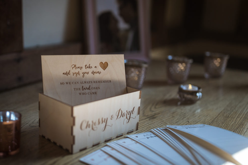 Guest Book Wooden Box Haughley Park Barn Wedding Him and Her Wedding Photography