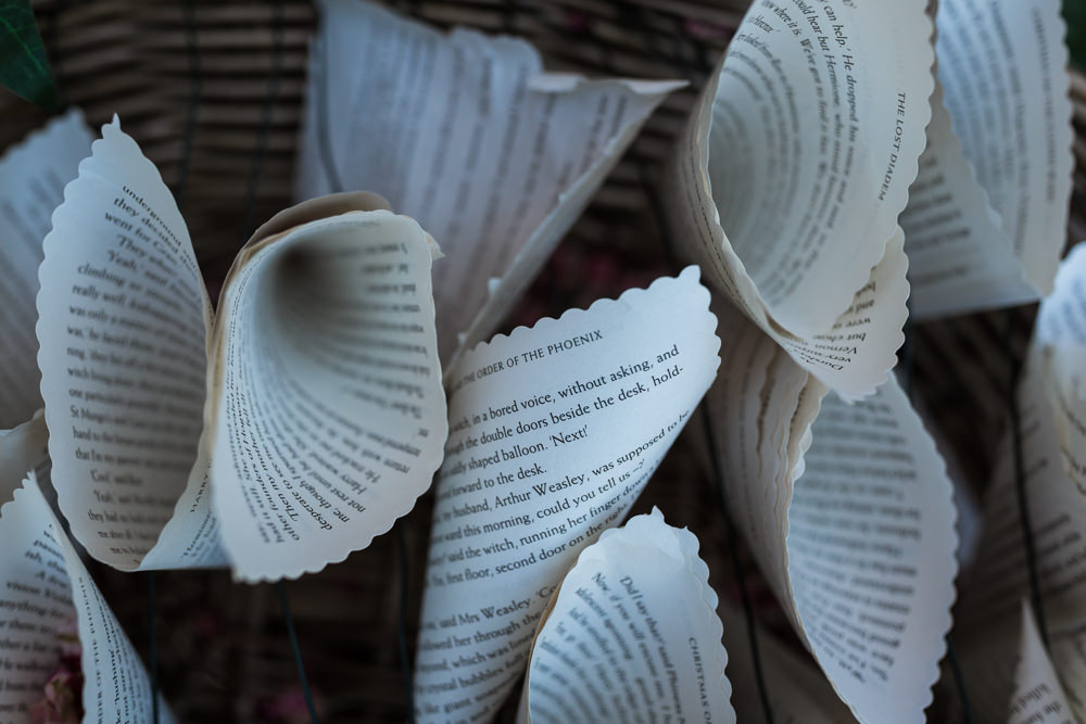 Book Pages Confetti Cones Haughley Park Barn Wedding Him and Her Wedding Photography
