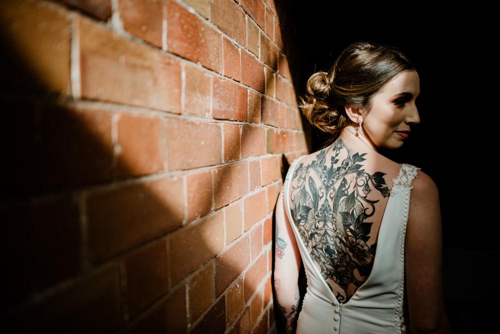 Bride Bridal Tattoos Indie Autumn Wedding Kazooieloki Photography