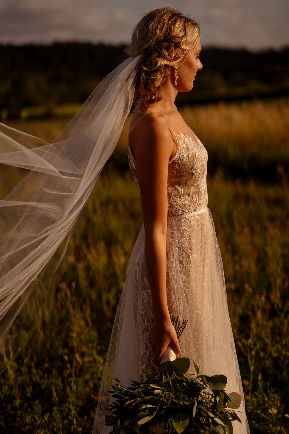 BHLDN Dress Gown Bride Bridal Tulle Lace Train Veil Industrial Barn Wedding Toast Of Leeds