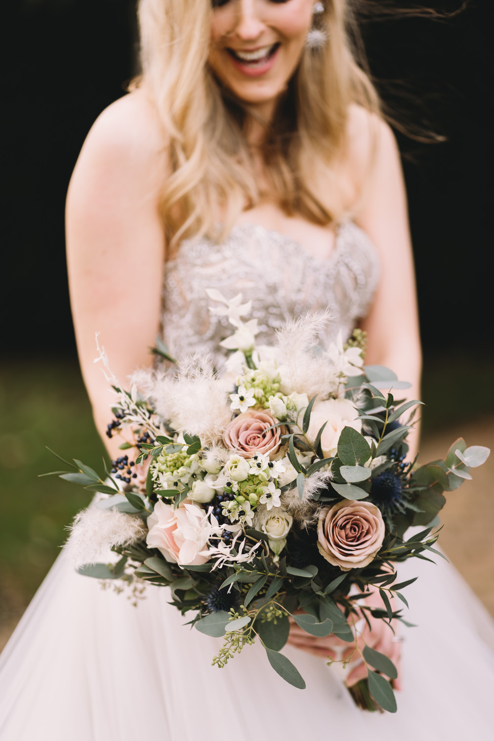 Bouquet Flowers Bride Bridal Eucalyptus Pink Rose Maidens Barn Wedding Sophie Oldhamstead Photography