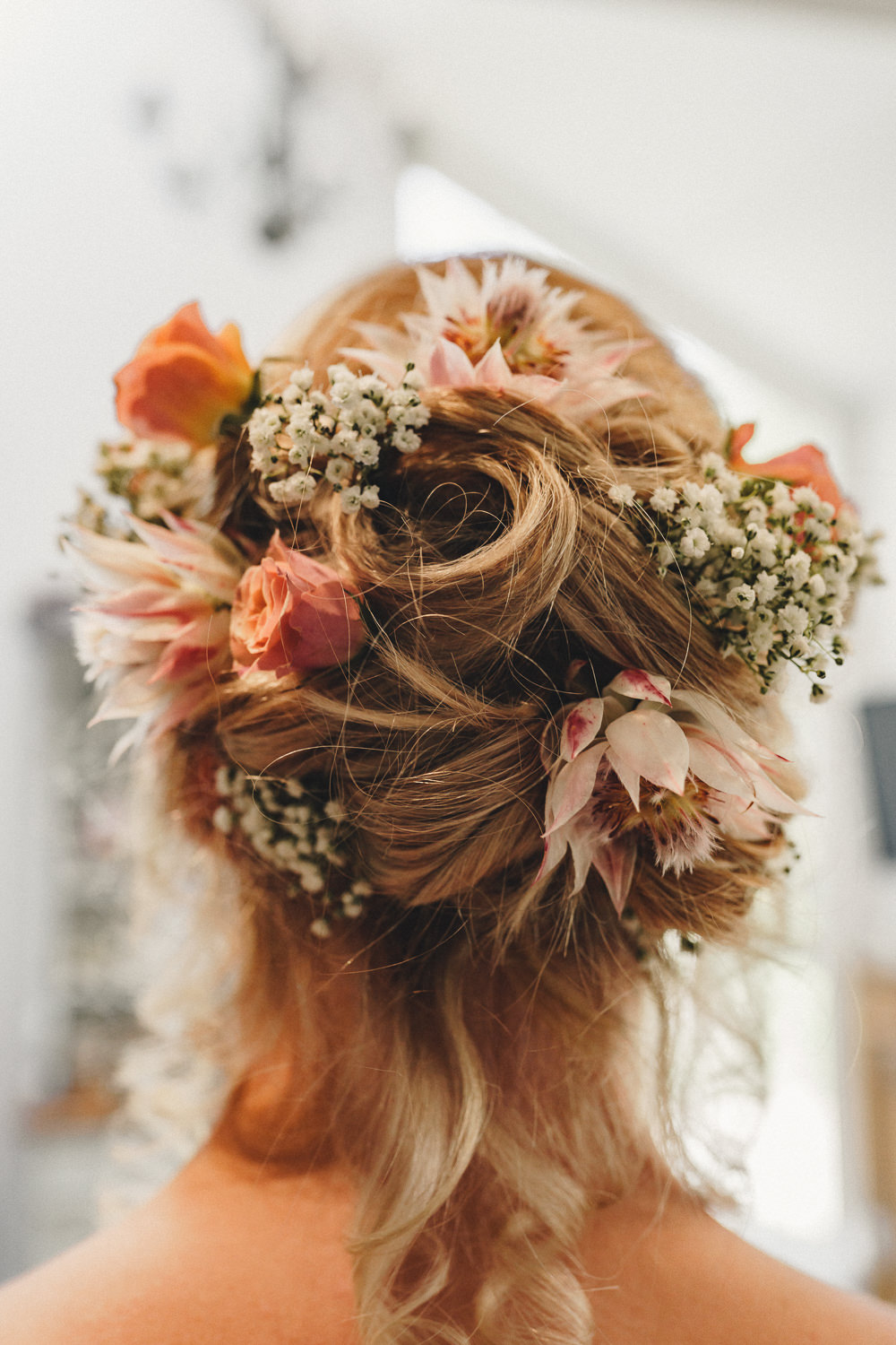 Hair Style Up Do Bride Bridal Flowers Marquee Wedding Home The Chamberlins