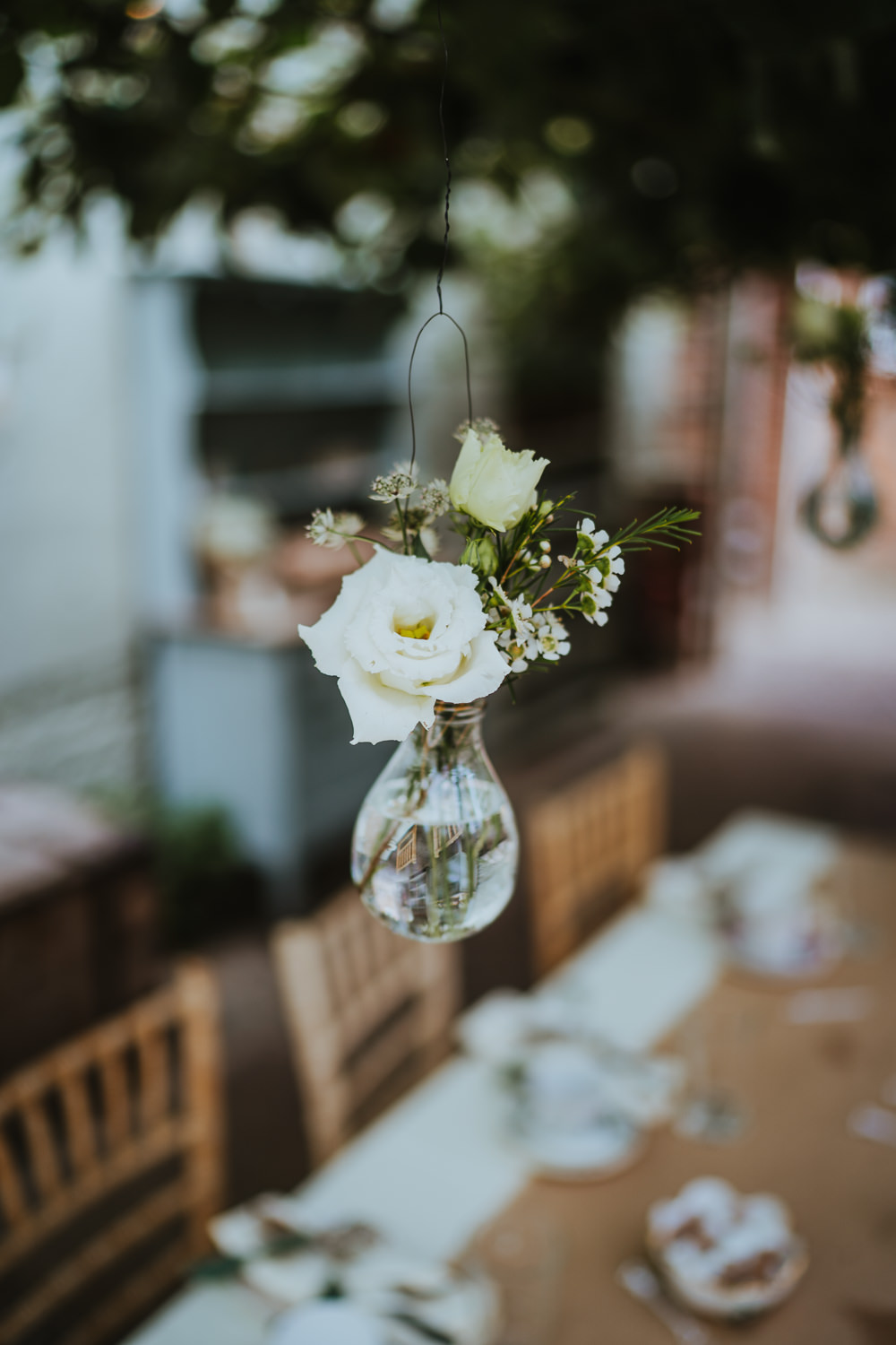 Hanging Flowers Suspended Vases Micro Wedding Nicola Dawson Photography
