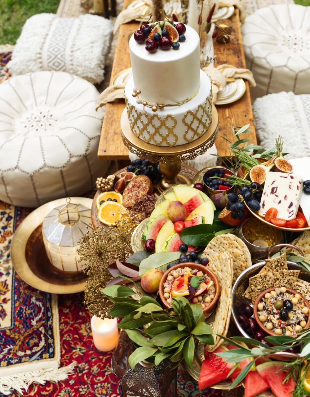 Cake Gold Pattern Fruit Moroccan Wedding Inspiration Luke Batchelor Productions