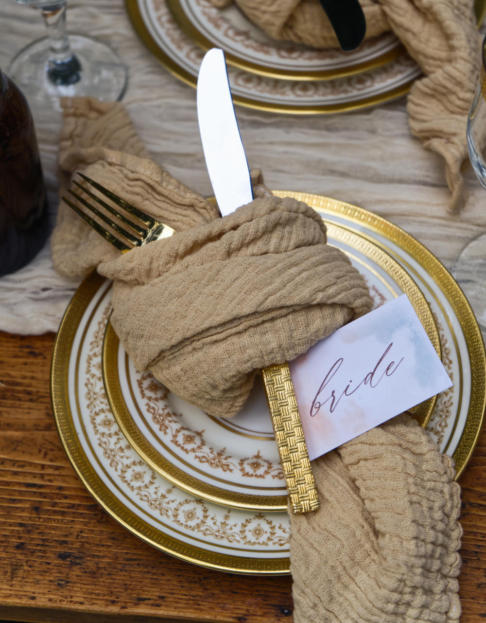 Place Setting Napkin Place Card Watercolour Calligraphy Moroccan Wedding Inspiration Luke Batchelor Productions