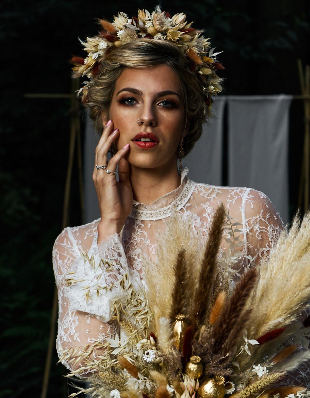Pampas Grass Bouquet Flowers Bride Bridal Dried Flowers Flower Crown Moroccan Wedding Inspiration Luke Batchelor Productions