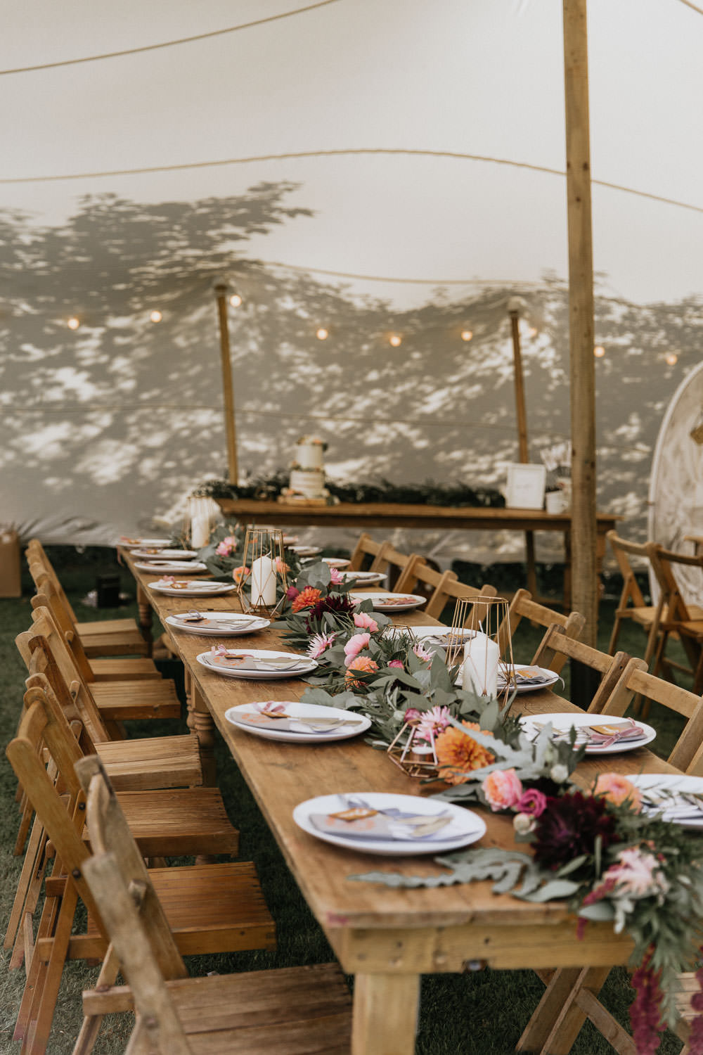 Stretch Tent Outdoor Festoon Lights Long Wooden Antique Tables Chairs Flowers Summer Boho Wedding Wild Tide Weddings