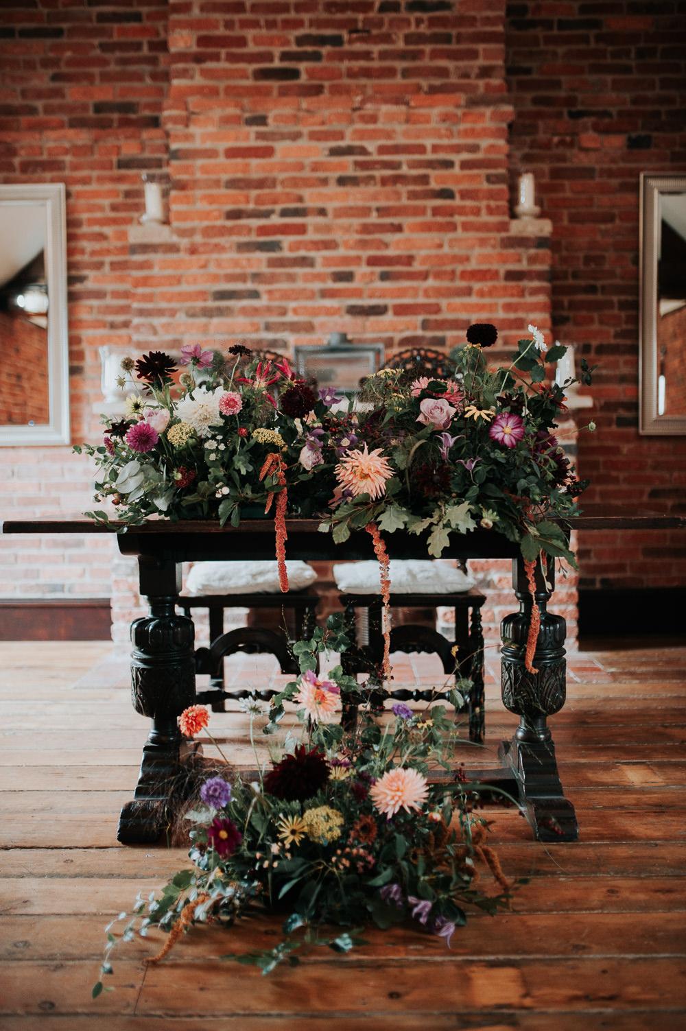 Flower Arrangement Ceremony Table Greenery Folliage Coral Dahlia Amaranthus Swancar Farm Country House Wedding Maree Frances Photography