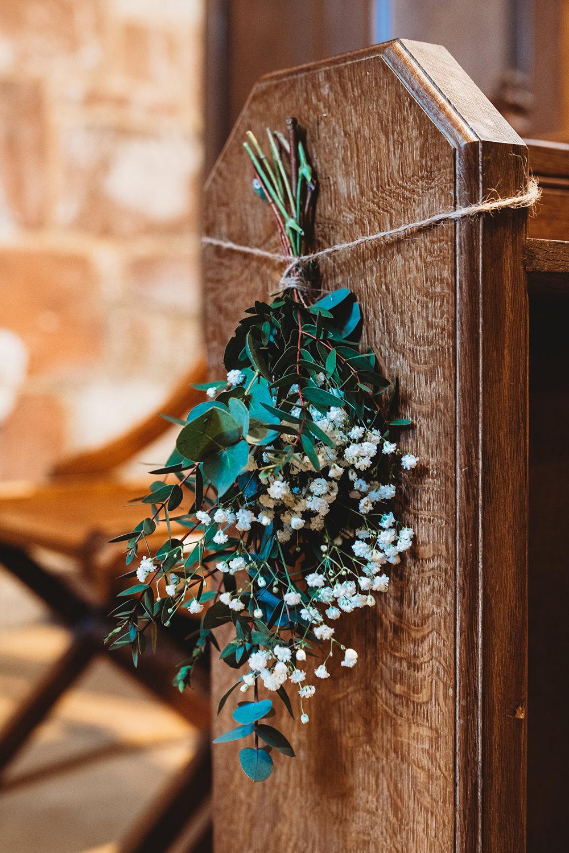 Pew End Flowers Gyp Gypsophila Whinstone View Wedding Emma Adamson Photography