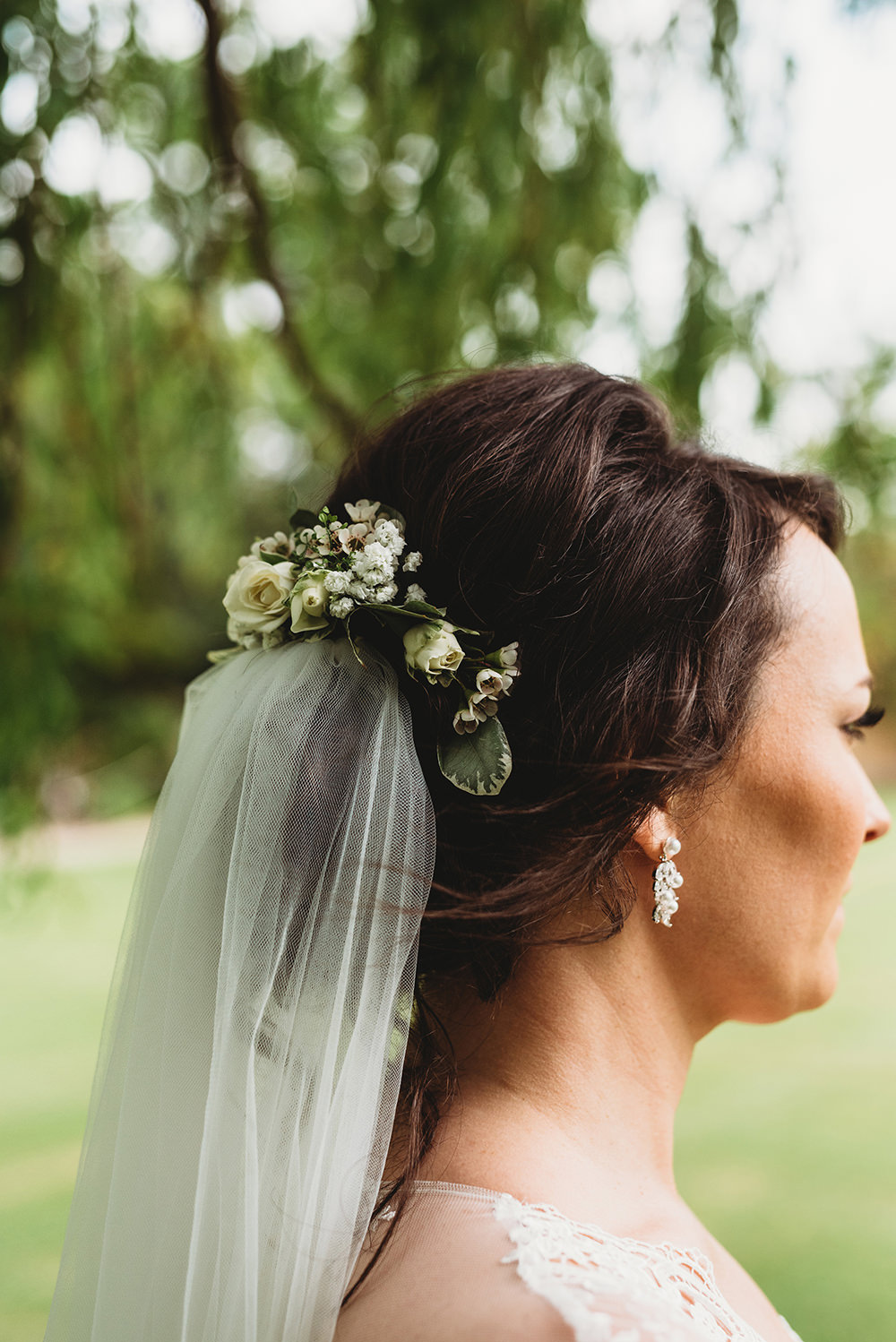 Bride Bridal Hair Style Up Do Flowers Veil Whinstone View Wedding Emma Adamson Photography