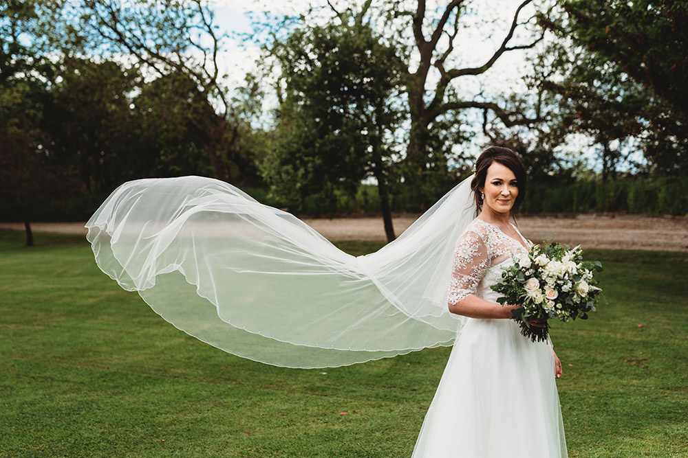 Dress Gown Bride Bridal Lace Sleeves Tulle Skirt Belt Sash Ribbon Whinstone View Wedding Emma Adamson Photography