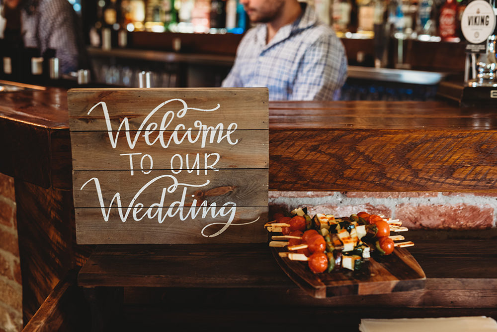 Wooden Welcome Sign Calligraphy Whinstone View Wedding Emma Adamson Photography