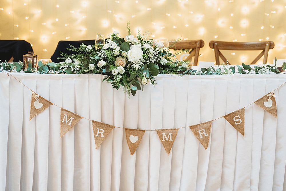 Top Table Hessian Bunting Flowers Whinstone View Wedding Emma Adamson Photography