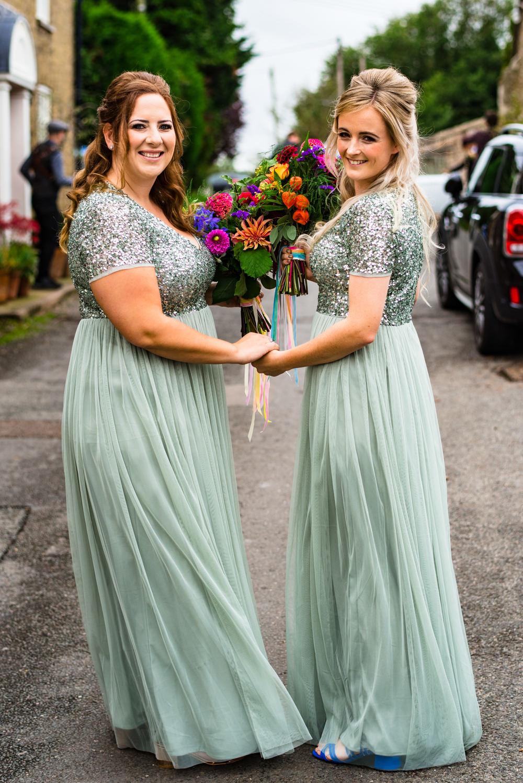 Bridesmaids Bridesmaid Dress Dresses Green Sequin Anstey Hall Wedding Jonny Barratt Photography
