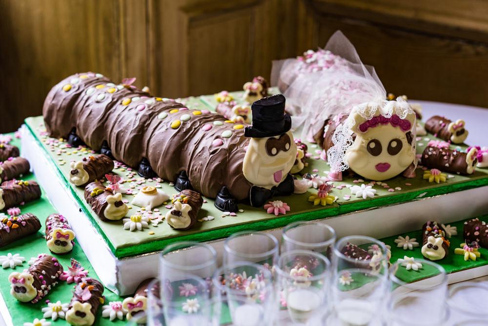 Colin Caterpiller Cake Connie Clarissa Anstey Hall Wedding Jonny Barratt Photography