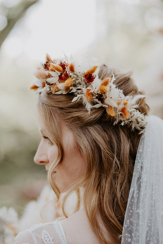 Bride Bridal Hair Style Up Do Half Up Half Down Plaits Braids Flower Crown Veil Boho Wedding Ideas The Enlight Project