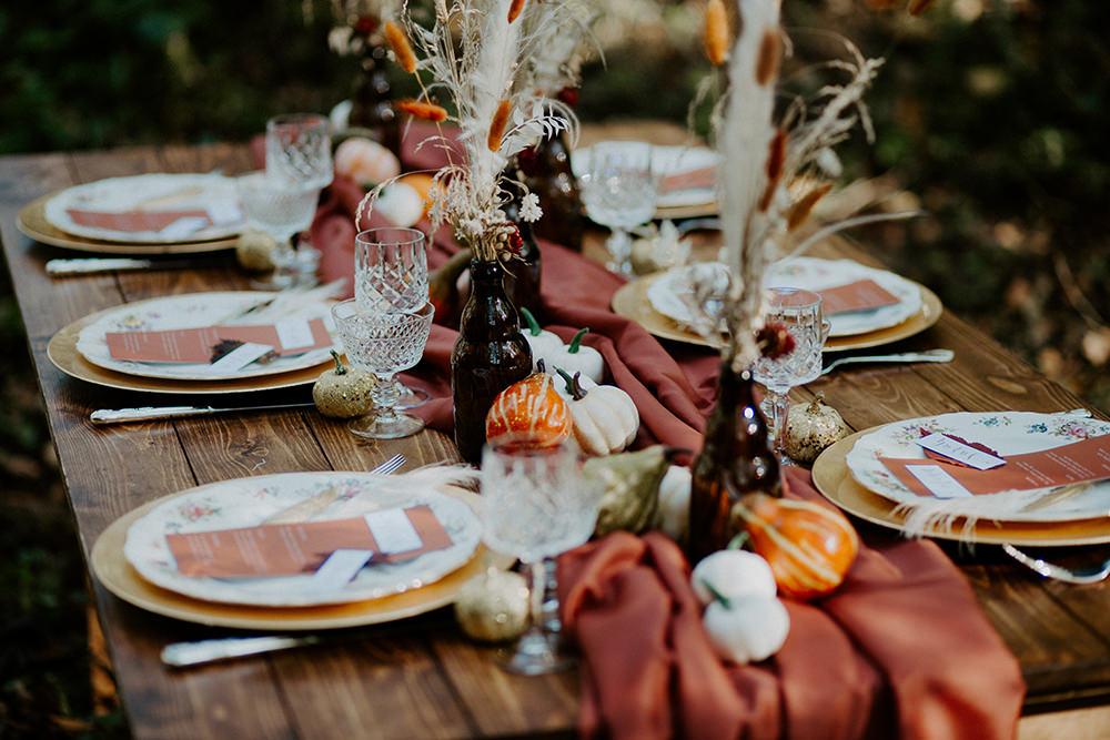 Table Tablescape Decor Rust Table Runner Pampas Grass Bottles Pumpkins Boho Wedding Ideas The Enlight Project