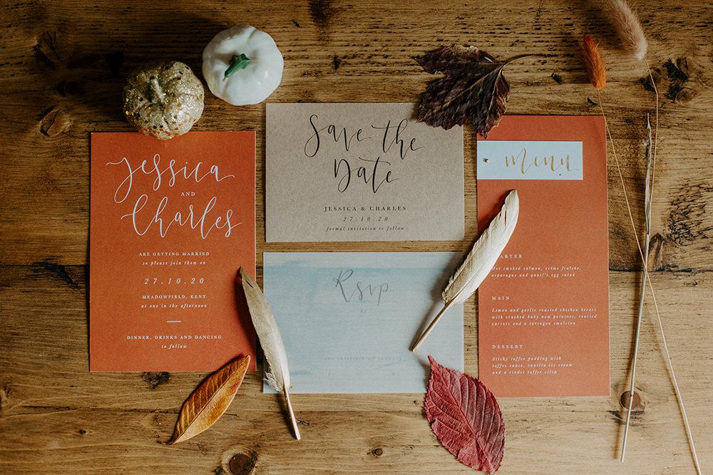Stationery Invite Invitation Suite Flat Lay Rust Orange Calligraphy Boho Wedding Ideas The Enlight Project