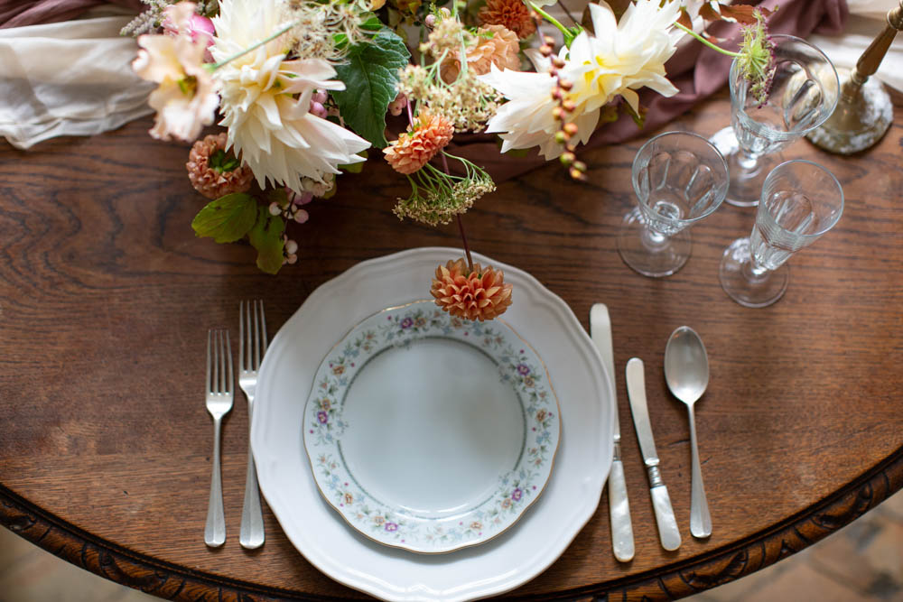 Place Setting Decor Plate Flowers Château Elopement France Maru Photography