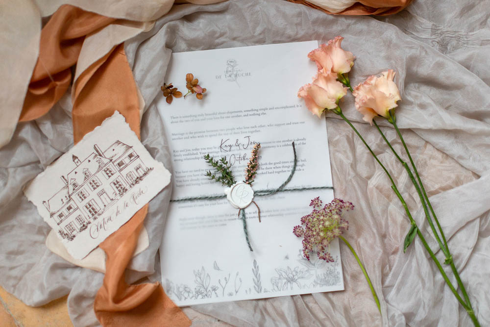 Sttionery Flowers Wax Seal Château Elopement France Maru Photography