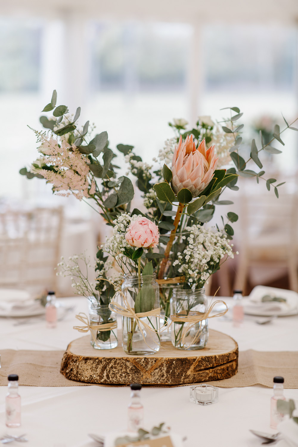 Table Decor Centrepiece Flowers Protea Cotswolds Marquee Wedding Jessy Papasavva Photography