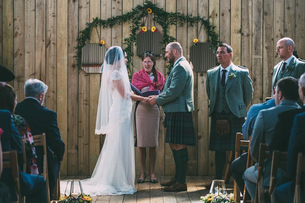 Aisle Ceremony Backdrop Greenery Foliage Arch Dalduff Farm Wedding Northern Aye Photography
