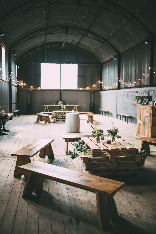 Seating Area Barn Festoon Lights Dalduff Farm Wedding Northern Aye Photography