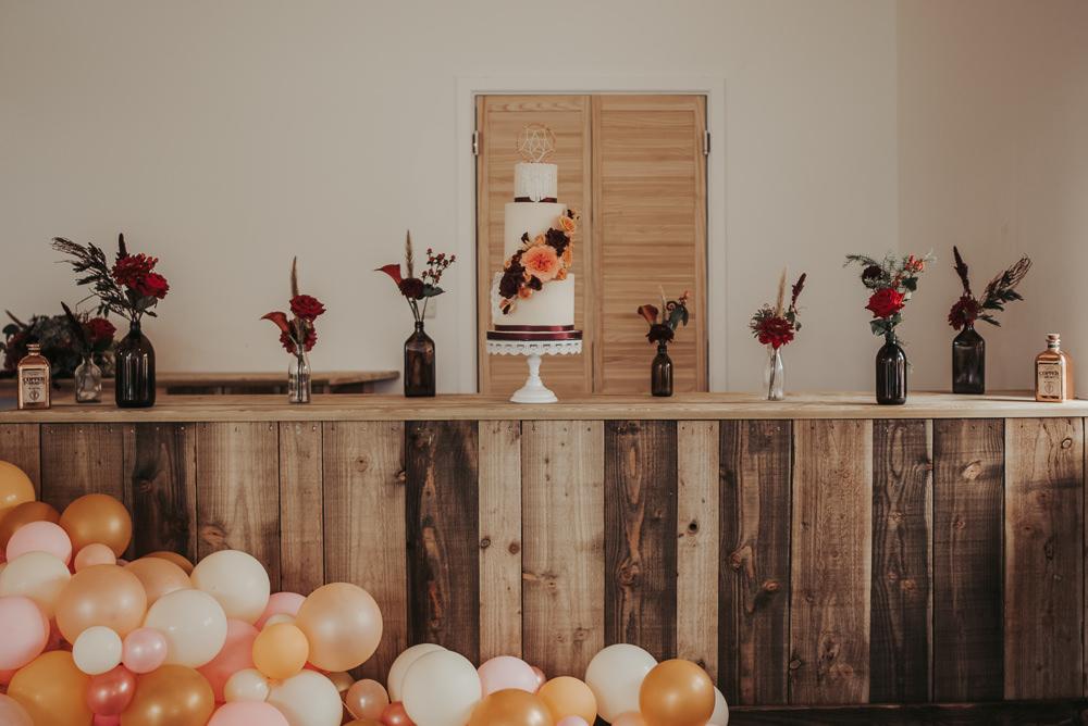 Cake Table Wooden Bar Flowers Balloon Installation Eco Friendly Wedding Inspiration Sarah Jayne Photography