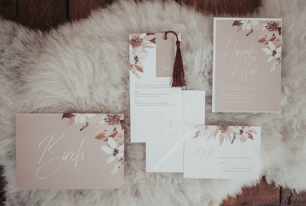 Stationery Suite Invite Invitations Pink Floral Tassel Eco Friendly Wedding Inspiration Sarah Jayne Photography