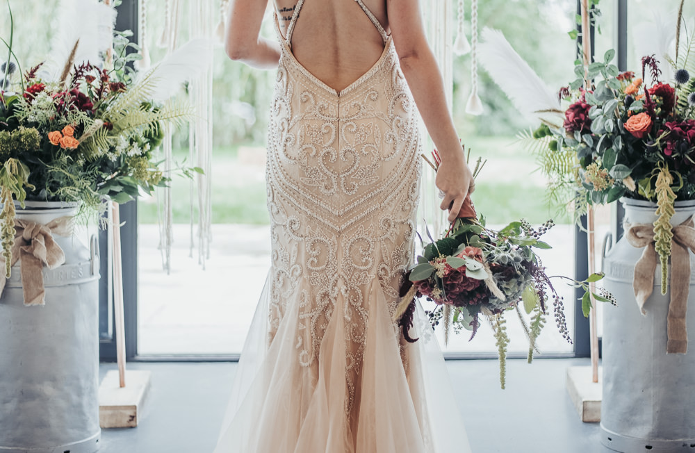 Dress Gown Bride Bridal Lace Straps Fit Flare Eco Friendly Wedding Inspiration Sarah Jayne Photography