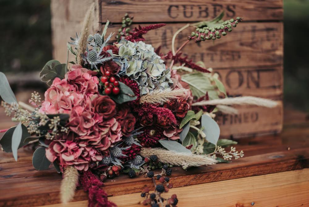 Bouquet Flowers Bride Bridal Hydrangea Burgundy Thistle Eco Friendly Wedding Inspiration Sarah Jayne Photography