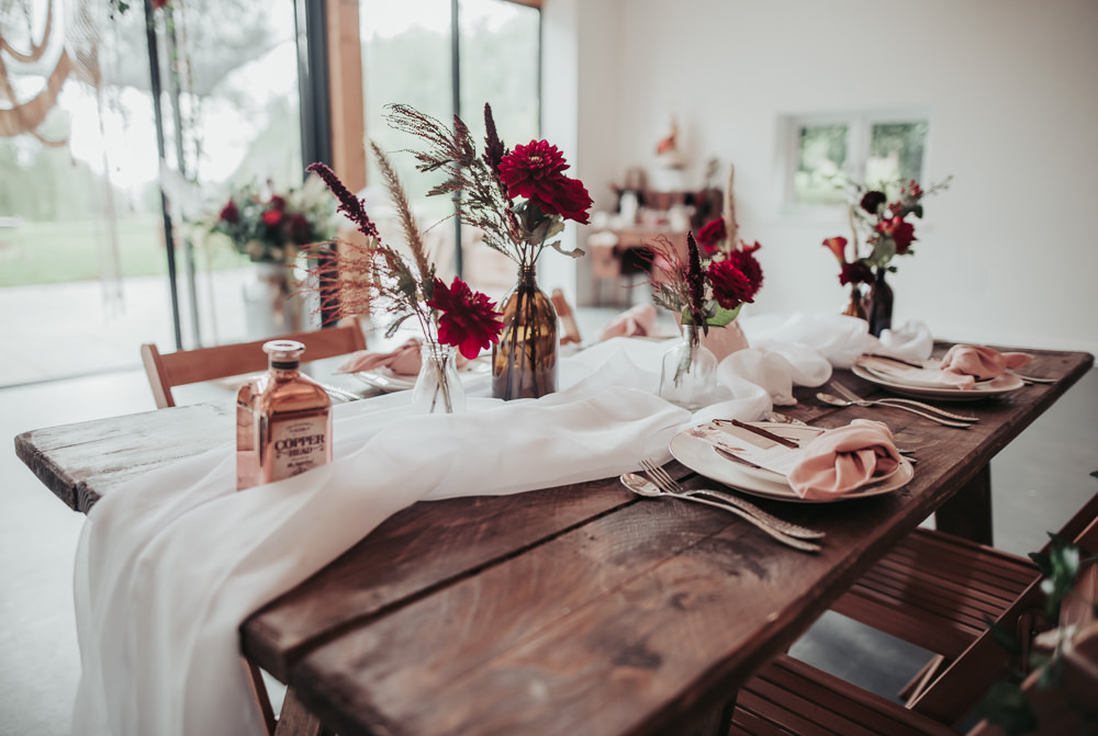 Tablescape Table Decor Flowers Red Blush Bottles Runner Eco Friendly Wedding Inspiration Sarah Jayne Photography