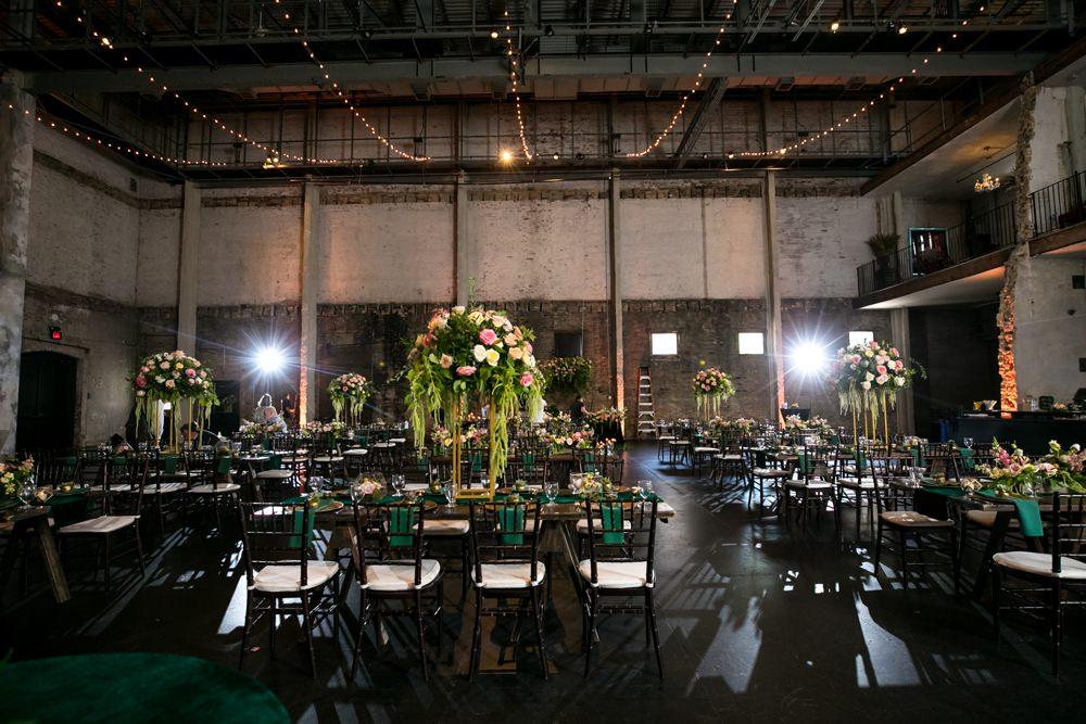 Warehouse Fairy Lights Long Tables Decor Floral Minneapolis Wedding Jeannine Marie Photography