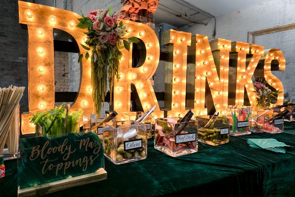 Drinks Station Bar Lights Floral Minneapolis Wedding Jeannine Marie Photography