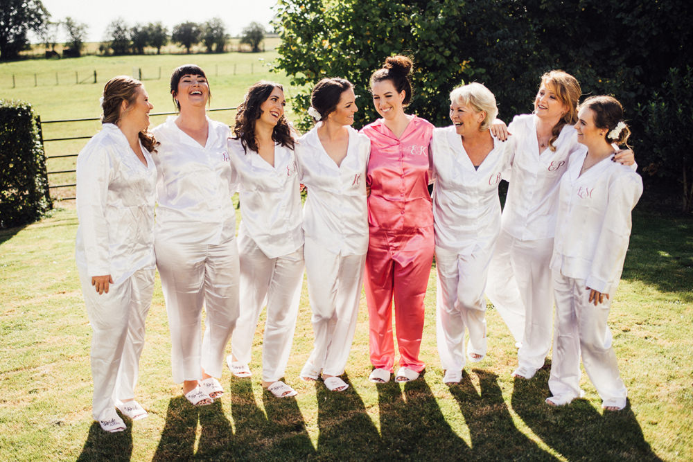 Bride Bridal Bridesmaids Pyjamas PJs Longton Wood Wedding Alex Tenters Photography