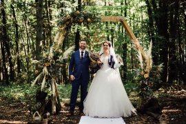 Longton Wood Wedding Alex Tenters Photography Flower Arch Hexagon Backdrop Ceremony Aisle Flowers