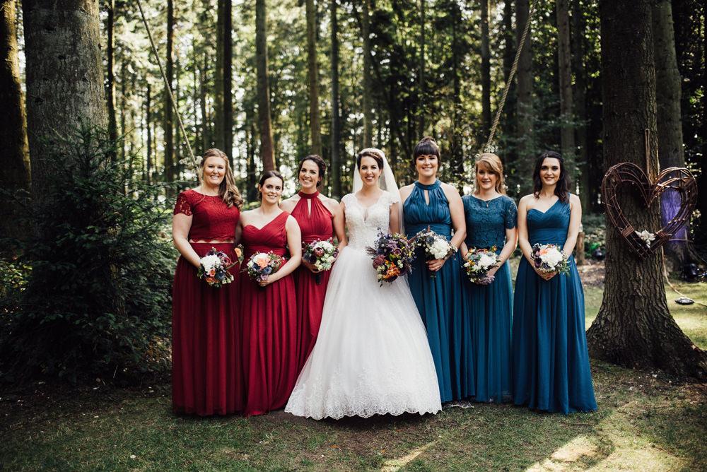 Bridesmaids Bridesmaid Dress Dresses Red Green Longton Wood Wedding Alex Tenters Photography