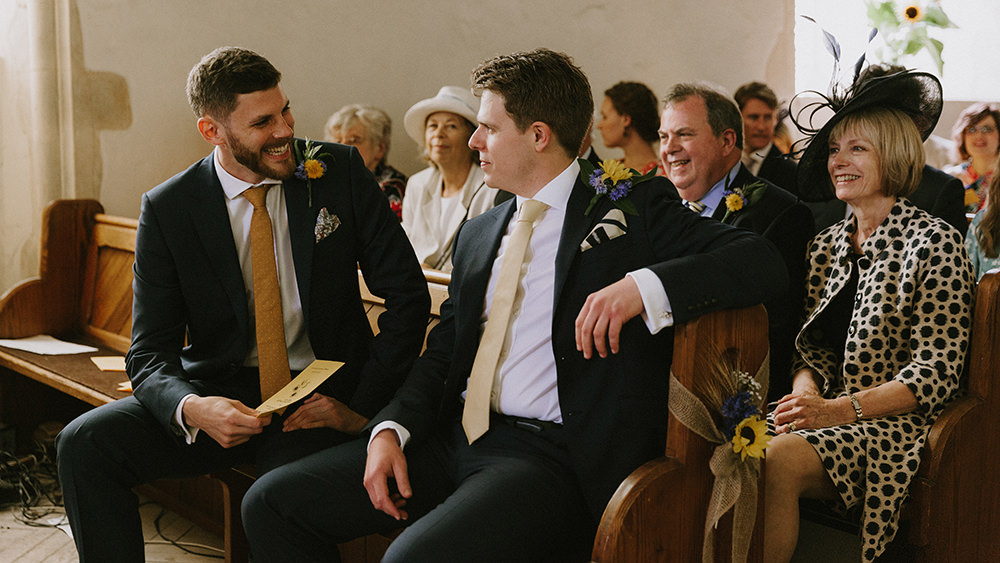 Groom Suit Yellow Tie Groomsmen Sunflowers Wedding Chris Bradshaw Photography