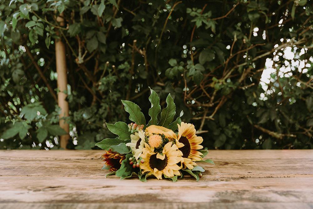 Bouquet Flowers Bride Bridal Yellow Sunflowers Wedding Chris Bradshaw Photography
