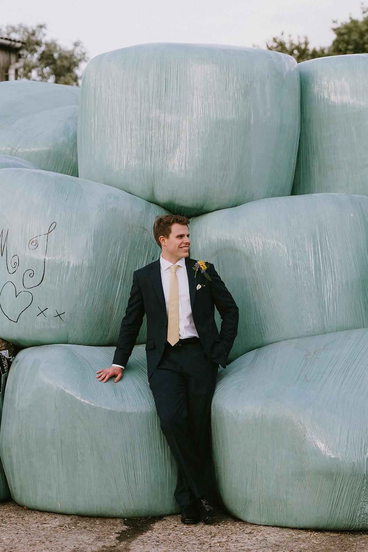 Groom Suit Yellow Tie Sunflowers Wedding Chris Bradshaw Photography