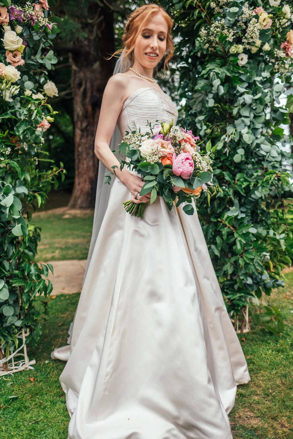 Bride Bridal Dress Gown Strapless Veil Flower Arch Backdrop Tinakilly Country House Wedding Conor Brennan Photography