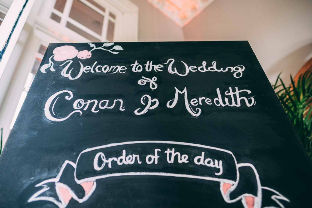 Chalk Black Board Sign Signs Signage Tinakilly Country House Wedding Conor Brennan Photography