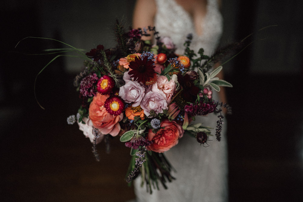 Bouquet Flowers Bride Bridal Dahlia Rose Burgundy Coral Ufton Court Wedding Emily & Steve Photography