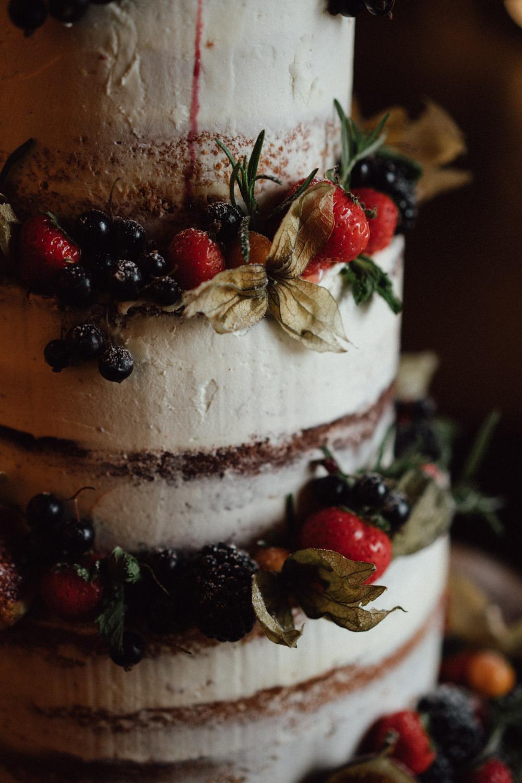 Semi Naked Cake Layer Sponge Berries Herbs Topper Ufton Court Wedding Emily & Steve Photography