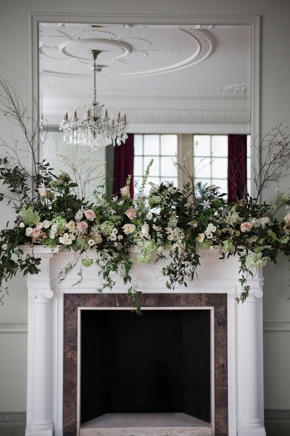 Fireplace Mantle Piece Flowers Greenery Foliage Blush Rose Whimsical Elegant Wedding Ideas Mandorla London