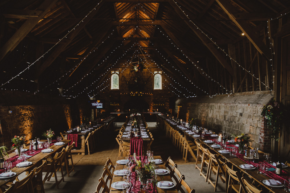 Long Tables Burgundy Table Runners Fairy Lights Wiltshire Barn Wedding Photography34