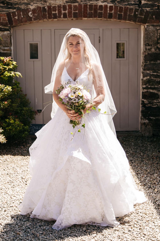 Bride Bridal Dress Gown Veil 3D Florals Straps Wonwood Barton Wedding Emma Barrow Photography