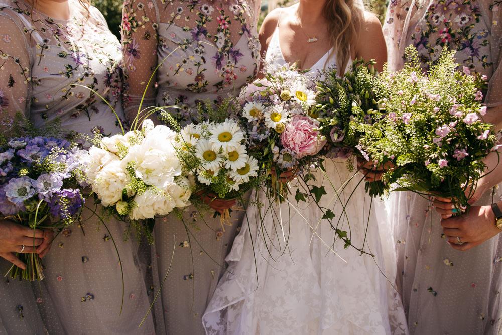 Bouquet Flowers Bride Bridal Peony Peonies Daisy Bridesmaids Wonwood Barton Wedding Emma Barrow Photography