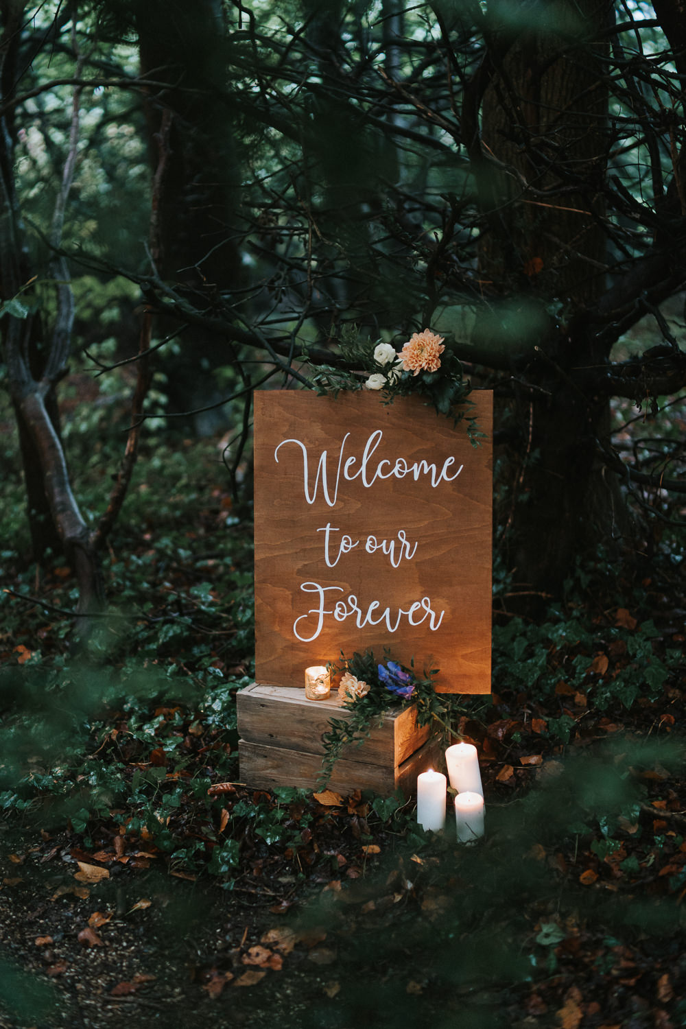 Wooden Sign Welcome Signs Signage Candles Flowers Woodland Wedding Inspiration Stephanie Dreams Photography