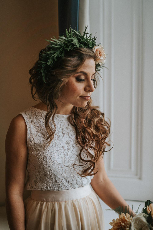 Bride Bridal Hair Waves Curls Flower Crown Woodland Wedding Inspiration Stephanie Dreams Photography